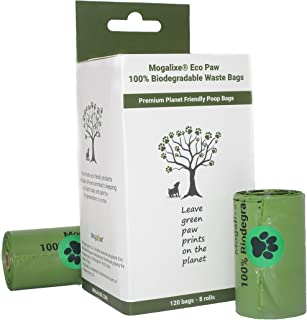 MOGALIXE Biodegradable Poop Bags - Pet Waste Bags - Plant-Based - Home and Industrial Compost Certified - Highest ASTM D6400 Rated - Leak Proof - Extra Thick - Large 120 Bags