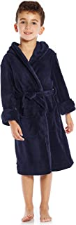 Leveret Kids Robe Boys Girls Solid Hooded Fleece Sleep Robe Bathrobe (2 Toddler-16 Years) Variety of Colors