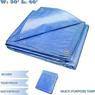 E&K Sunrise 30' x 40' Finished Size General Multi-Purpose Tarpaulin 5-mil Poly Tarp - Blue