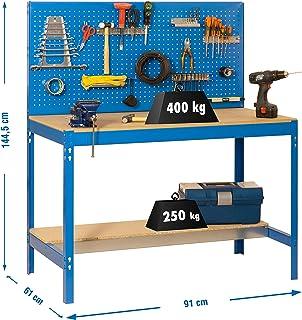 Simonrack 448100045159062 Banco de trabajo (1440 x 900 x 600 mm, 2 estantes y 1 panel perforado, 400 kg-250 kg) color azul...
