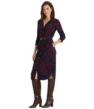 LAUREN Ralph Lauren Petite Paisley Belted Jersey Shirtdress