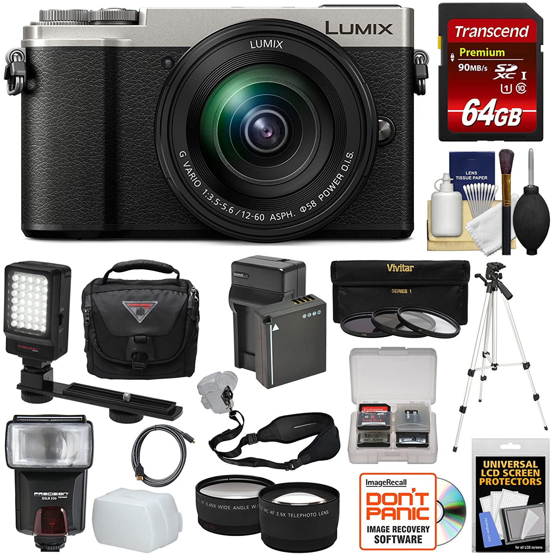 Panasonic Lumix DC-GX9 4K Wi-Fi Digital Camera & 12-60mm Lens (Silver) + 64GB Card + Battery + Case + Tripod + Flash + Video Light + Tele/Wide Lens Kit yxc0014234755