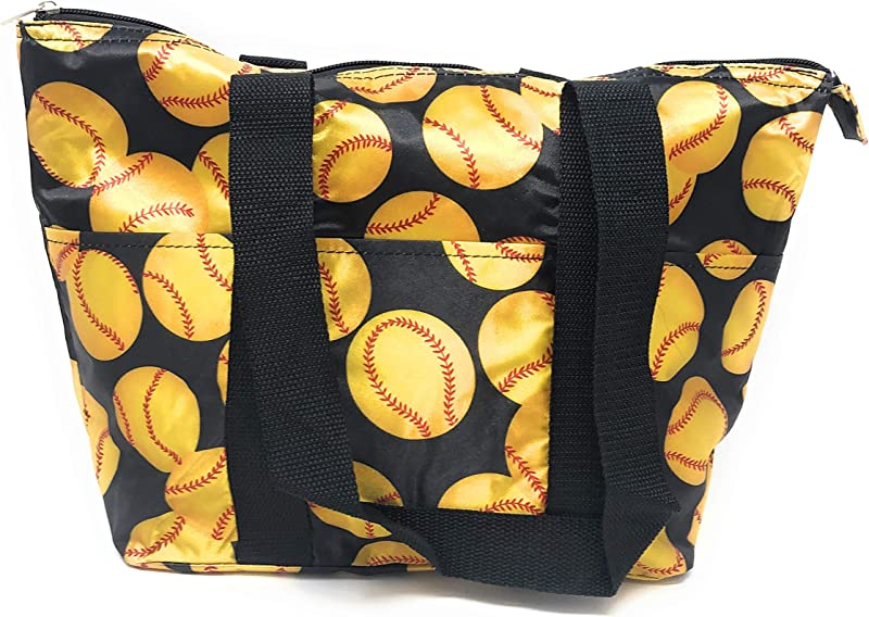 15 In Long Large Reusable Zippered Top Insulated Lunch Bag Yellow Softball