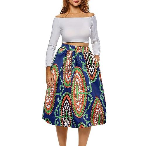 5152cefdea64ad Afibi African Print Skirts for Women Boho Plus Size Flare Pleated Skirts