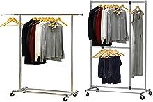 Simple Houseware Heavy Duty Clothing Garment Rack + Dual Bar Adjustable Garment Rack