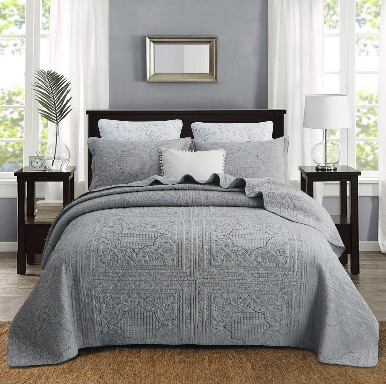 Ranking TOP4 Brandream Luxury Bedding Set Farmhouse Vintage Quilt Max 47% OFF Gray Qu