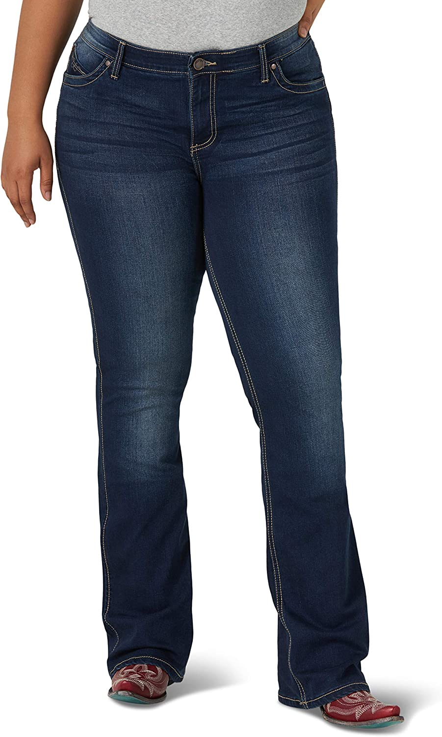 Wrangler Women's Plus Size Q-Baby Mid Rise Boot Cut Ultimate Riding Jean