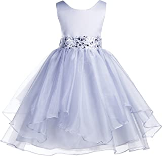 addf4b30371 ekidsbridal Asymmetric Ruffled Organza Sequin Flower Girl Dress Toddler  Girl Dresses 012S