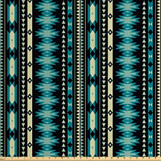 Lunarable Ethnic Fabric by The Yard, Antique Motifs Vertical Ikat Stripes Mayan Cultural Heritage Tradition and Art, Decorative Fabric for Upholstery and Home Accents, 1 Yard, Beige Black