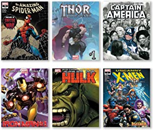 Superhero Wall Decor Avengers Poster Boys Room Wall Art Unframed Set of 6 Prints, 8x10 Inch, Spiderman Hulk Thor Captain America Iron Man X-Men Black Panther Posters Vintage bedroom Décor