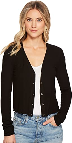 Three Dots - Viscose Rib Crop Cardigan