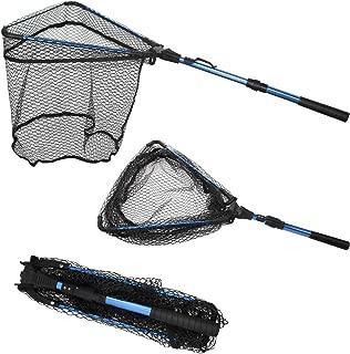 Thekuai Fishing Net Fish Landing Net, Foldable Collapsible Telescopic Pole Handle, Durable Nylon Material Mesh Safe Fish Landing Net Catch Release Strong.