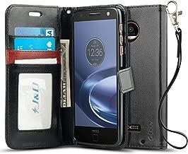 J&D Case Compatible for Moto Z Droid Case, [Wallet Stand] [Slim Fit] Heavy Duty Protective Shock Resistant Flip Cover Wallet Case for Motorola Moto Z Droid Wallet Case - Black