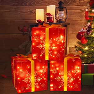 3Packs Christmas Decorations Lighted Gift Boxes - Xmas Tree Skirt Present Ornaments for Home Indoor Outdoor Party Decor with Bows (Assembly Needed)