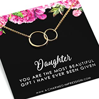 Daughter Gifts Necklace • Gift for Daughter from Mom Dad • 14k Gold • 2 Connected Infinity Circles • Jewelry Women Girls • Birthday Christmas Card and Necklace • Stepdaughter Adoption Adopted Child