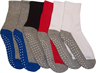 Boys Girls and Baby Cotton/Spandex Crew Gripper Socks - 6 Pair Pack