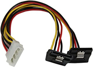 StarTech.com 12in LP4 to 2X Right Angle Latching SATA Power Y Cable Splitter - 4 Pin LP4 to Dual 90 Degree Latching SATA Y Splitter