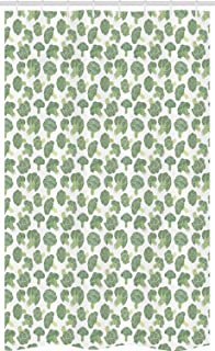 ABAKUHAUS Vegetables Stall Shower Curtain, Continuous Foods Pattern with Sketchy Hatched Broccoli Print, Fabric Bathroom D...