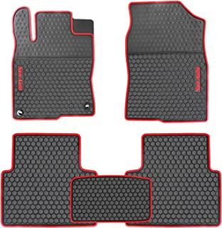 HD-Mart Car Rubber Floor Mat for Honda Civic 10th Generation 2016-2017-2018-2019 Custom Fit Black Red Auto Liner Mats All Weather, Heavy Duty & Odorless