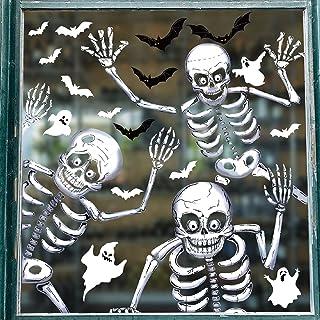 Tuopuda 81 STKS Halloween Raamklempjes Stickers 10 Vellen Halloween Skelet en Ghost Window Stickers Dubbelzijdige Verwijde...
