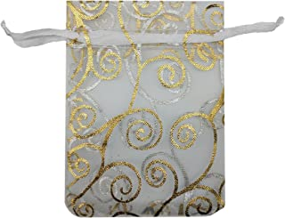 Ankirol 100pcs Sheer Organza Favor Bags for Wedding Baby Shower Rattan Print Gift Bags Samples Display Drawstring Pouches (3x4, White)