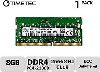 Timetec Hynix 8GB DDR4 2666MHz PC4-21300 Unbuffered ECC 1.2V CL19 1Rx8 Single Rank 260 Pin UDIMM undefined Memory RAM Module Upgrade (8GB)