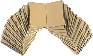 VEEPPO A5 Wirebound Notebooks Bulk Journals Spiral Steno Pads Blank/Lined Kraft Brown Cardboard Cover Thick Cream Writing Pad Sketchbook Scrapbook Album (Blank White Sketch Paper-Pack of 20)