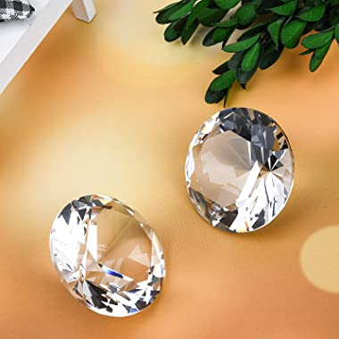 60mm(2.36 in) Large Crystal Diamond Paperweight with Stand Jewels Wedding Decorations Centerpieces Home Decor (60mm, Clear)