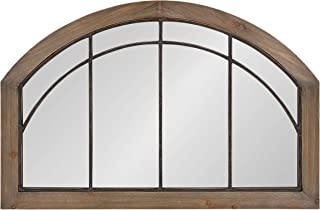 Kate and Laurel Haldron Traditional Wood Arch Mirror with Decorative Metal Fretwork, 24 x 36, Rustic Brown