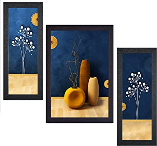 SNDArt Set of 3 Flower Pot UV Textured Wall Paintings For Living Room With Frame Big Size Decorative Items (14 Inch X 24 I...