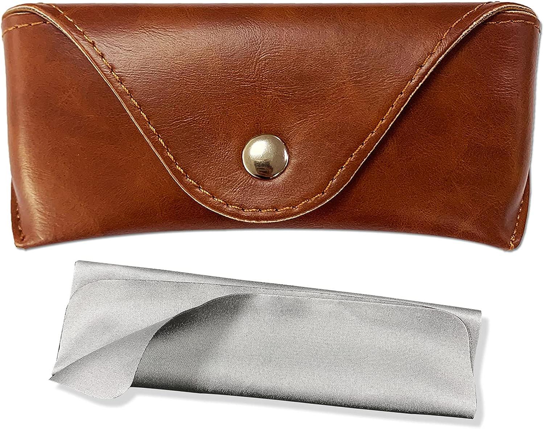 Portable Leather Glasses Case,Durable Soft Sunglasses Pouch Slim Case for Women Men Horizontal Eyeglass Case
