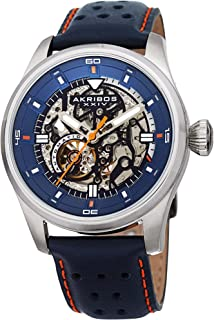 Father's Day Gift - Akribos Automatic Mechanical Skeleton Watch – Crocodile Embossed Genuine Leather Strap – Automatic Mechanical Skeletonized Wristwatch See Through Dial - AK1020