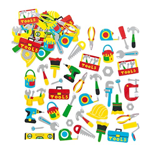 Baker Ross Tool Box Foam Stickers (Pack of 120) Self Adhesive Puffy Scrapbook Stickers