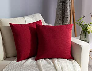Stellhome BurlapnThrow Pillow Covers Square Solid Linen Cushion Covers for Bed Couch Sofa Bench, 18 x 18 inch (45 cm), Red, Set of 2