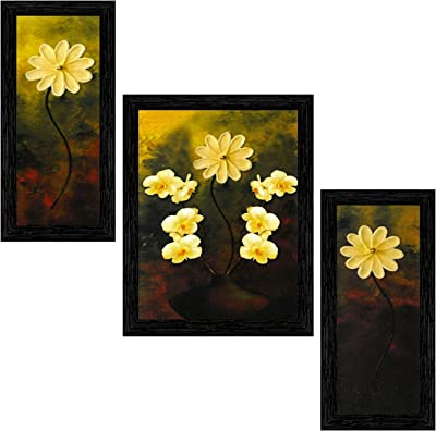 Indianara Set of 3 Bunch of Flowers Framed Art Painting (3260BK) without glass 6 X 13, 10.2 X 13, 6 X 13 INCH
