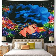 Unitendo African American Black Girl Colourful Print Wall Hanging Tapestries Indian Polyester Picnic Bedsheet Afro Wall Art Decor Hippie Tapestry, 80''X 60'' (Afro Girl Blue Hair)