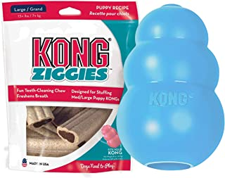 KONG - Puppy & Ziggies - Natural Teething Rubber - Fun to Chew, Chase and Fetch with Treats (Colors May Vary) Large BND153