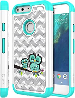 Google Pixel Case, Pixel Bling Case, Style4U Cute Owl Design Studded Rhinestone Crystal Bling Hybrid Armor Case Cover for Google Pixel with 1 Style4U Stylus [White/Teal]