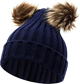 Jiaqee Winter Knit Hats Infant Toddler Warm Caps Double Pom Pom Beanie for Baby Boys Navy