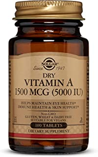 Solgar Dry Vitamin A 1500 mcg (5000 IU), 100 Tablets - Supports Healthy Eyes, Skin & Immune System - Non-GMO, Vegan, Glute...