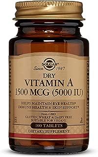 Dry Vitamin A 1500 mcg (5000 IU) Tablets - 100 Count