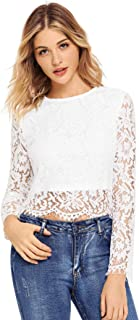 long sleeve lace top white