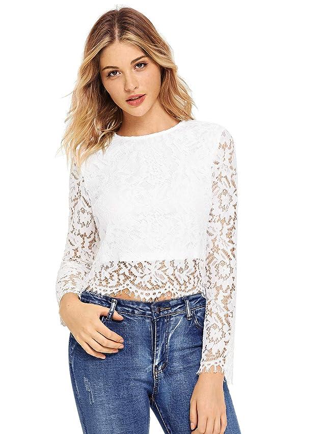 MakeMeChic Women's Short Sleeve Sexy Sheer Blouse Mesh Lace Crop Top