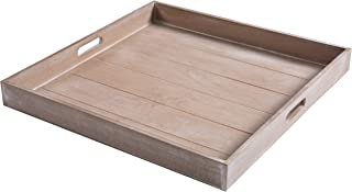 MyGift Large Shabby Chic Square Wood Serving Tray for Breakfast in Bed, Tea, Coffee - 19 x 19 inch