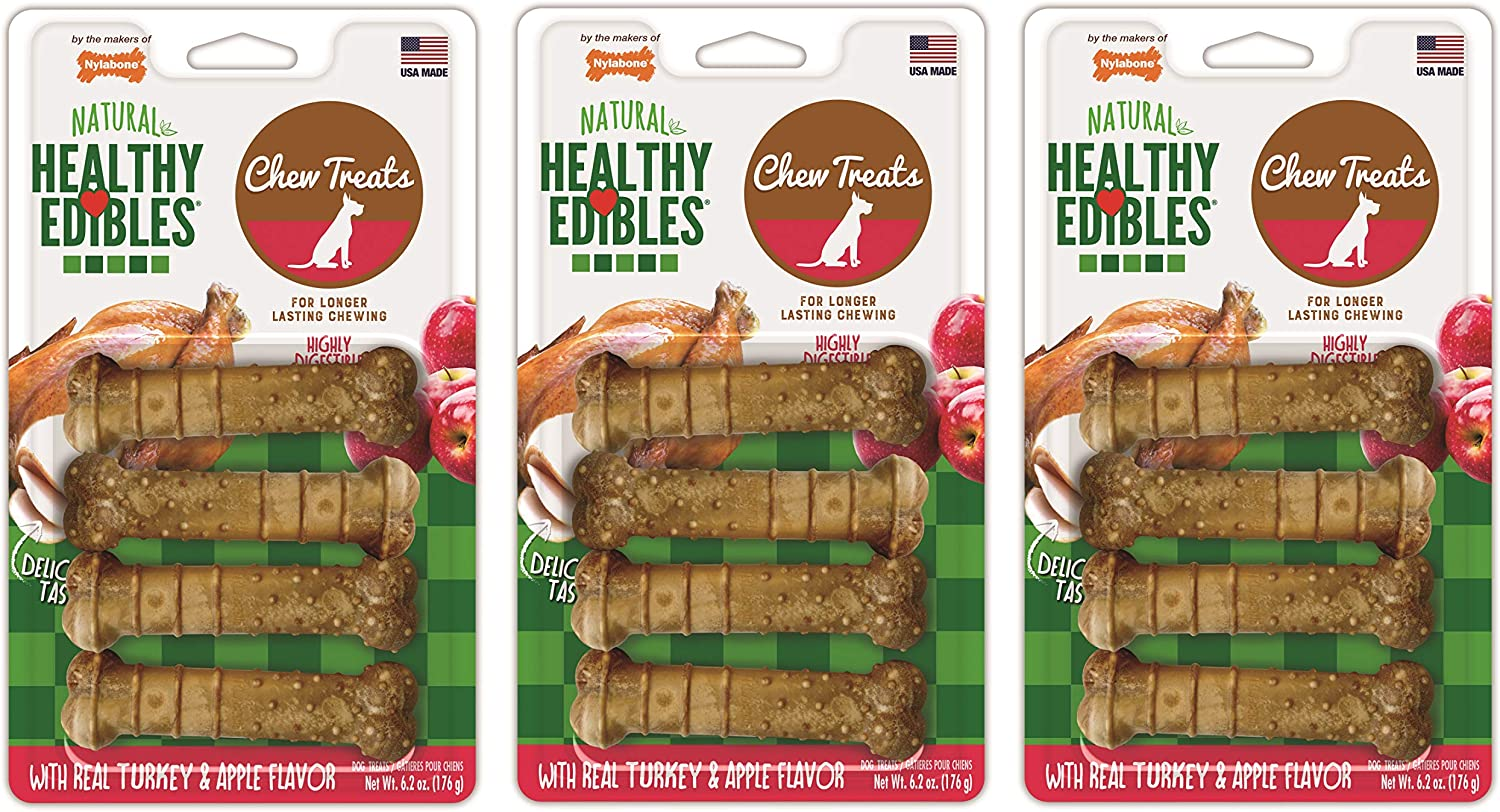 Nylabone 12 Pack of Healthy Edibles Chew Treats, Regular, Turkey and Apple Flavor Bones for Dogs Up to 25 Pounds