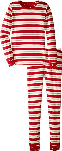 Metallic Striped Holiday Organic Cotton Pajama Set (Toddler/Little Kids/Big Kids)