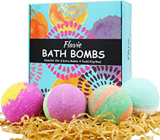 Bath Bombs, Bubble Bath, Organic SPA Gift Set 4 Extra Large 5 OZ, Bath Salts, Coconut Oil, Natural Fizzie Relaxing to Mois...