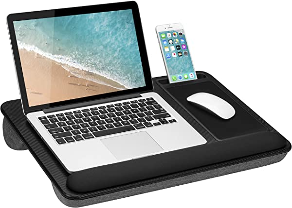 LapGear Home Office Pro Lap Desk With Wrist Rest Mouse Pad And Phone Holder Black Carbon Fits Up To 15 6 Inch Laptops Style No 91598