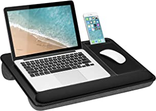 LapGear Home Office Pro Lap Desk with Wrist Rest, Mouse Pad, and Phone Holder - Black Carbon - Fits Up To 15.6 Inch Laptop...