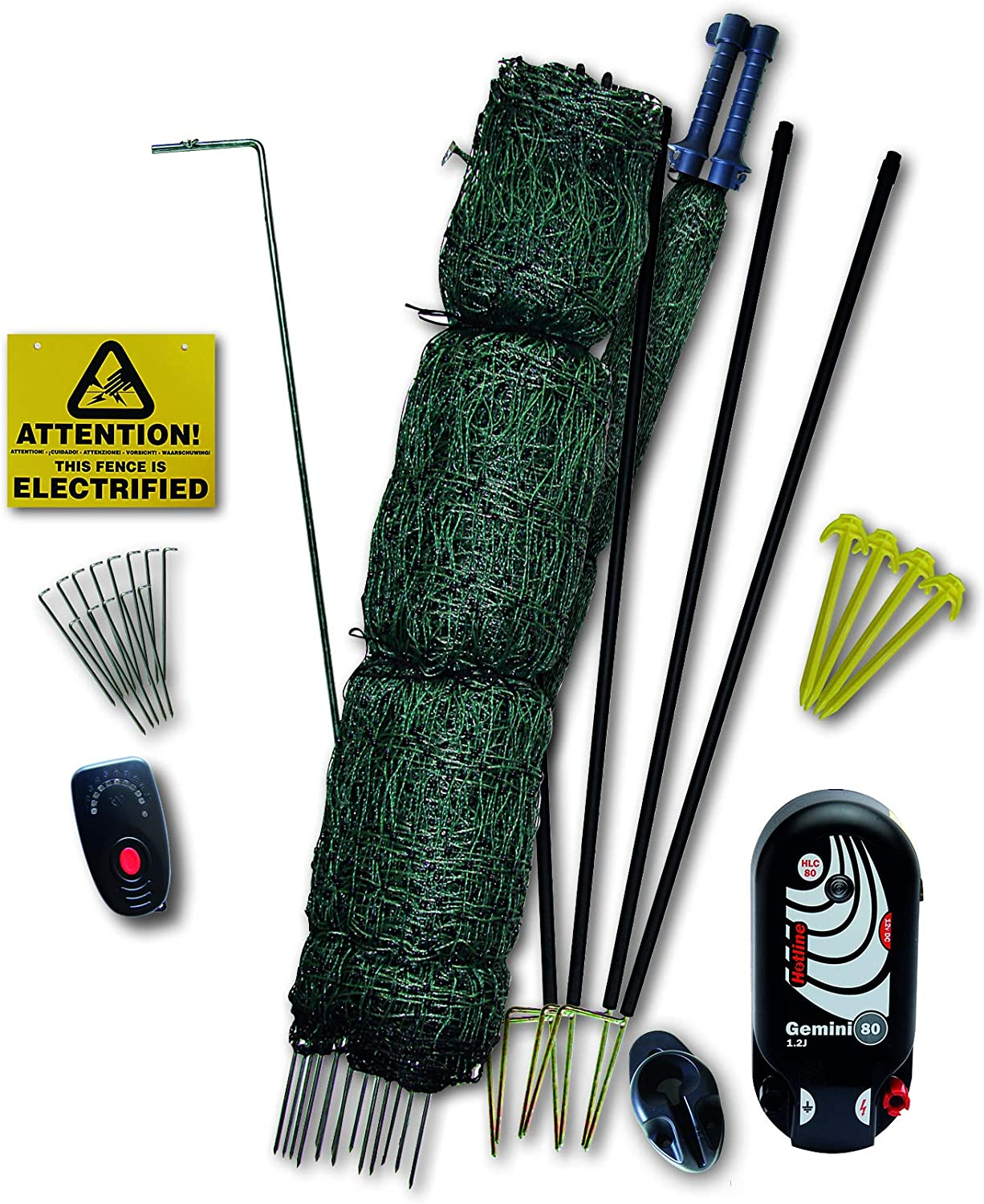 Hotline 50 METER x 1.22 METER HIGH PREMIUM FOX BUSTING POULTRY NETTING KIT  WITH CLOSE MESH (battery or mains powered)